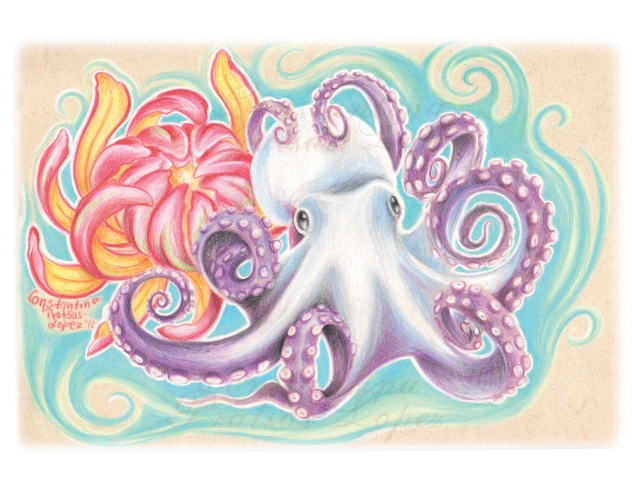 white purple octopus rgb watermark